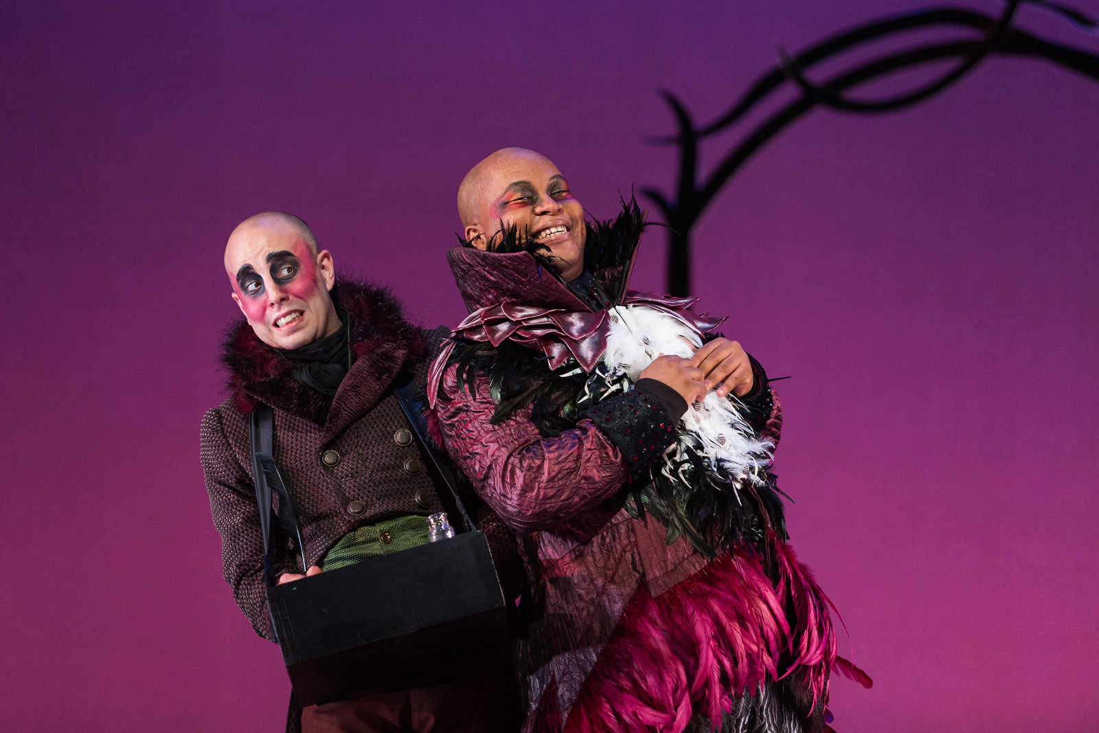 Ensemble member Simon Dyer (L) and Musa Ngqungwana as Gottardo, The Thieving Magpie