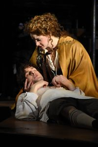 Michael Kelly as Edward Kynaston and Maeve Höglund as Margaret Hughes, Photo: Tina Buckman