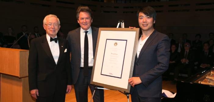 Lang Lang Receives RCM Honorary Fellowship - Chancellor Michael M. Koerner, President Dr. Peter Simon, and Lang Lang (Christina Gapick photo)
