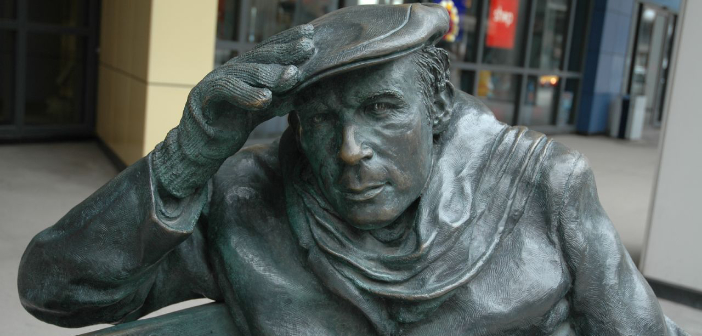 Bench statue of Glenn Gould in front of CBC building, Toronto