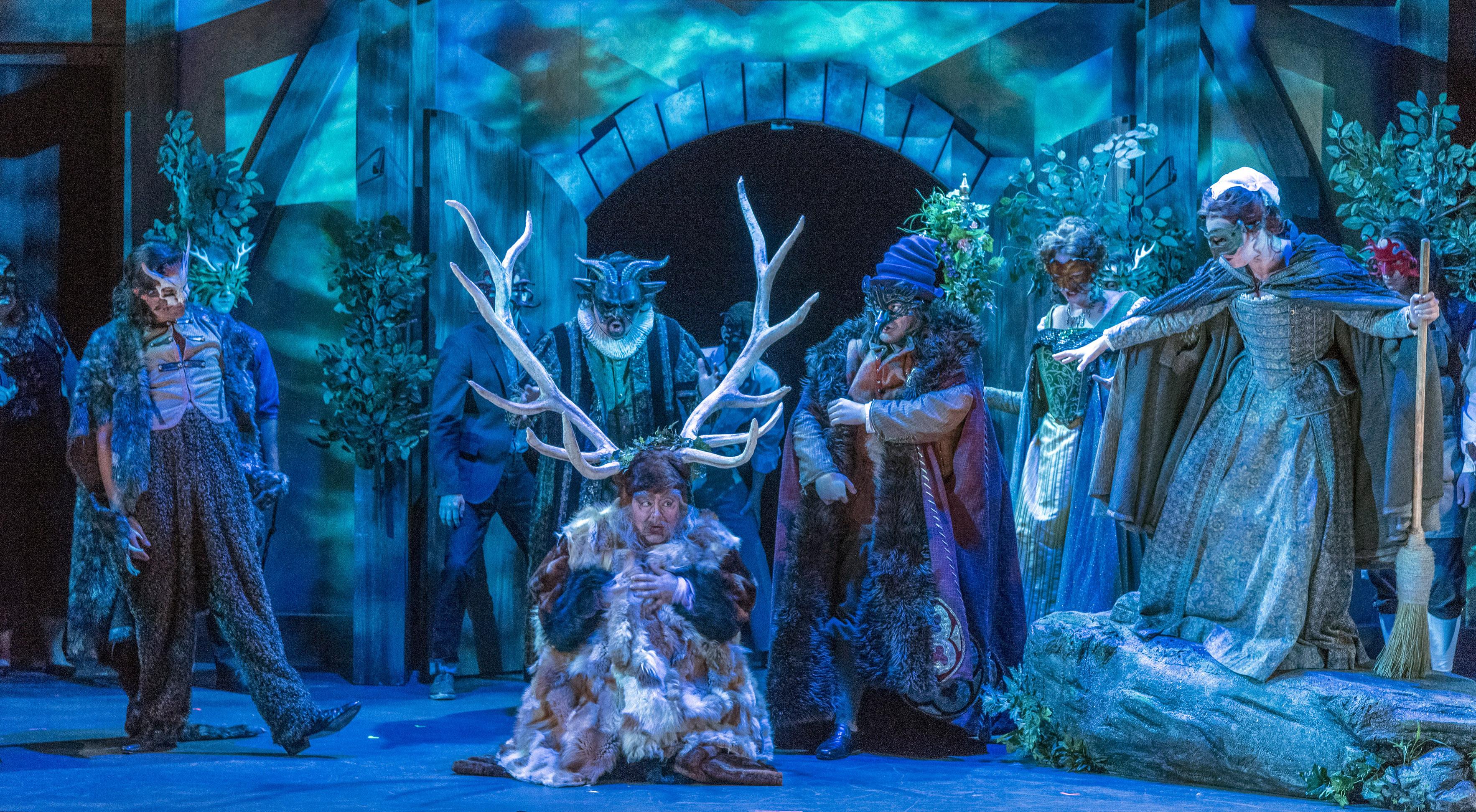 Sir John Falstaff (Craig Colclough), with the company of Opera Saratoga's production of Falstaff, Photo: Gary David Gold